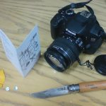 The tools: camera, card, metallic foil, pin