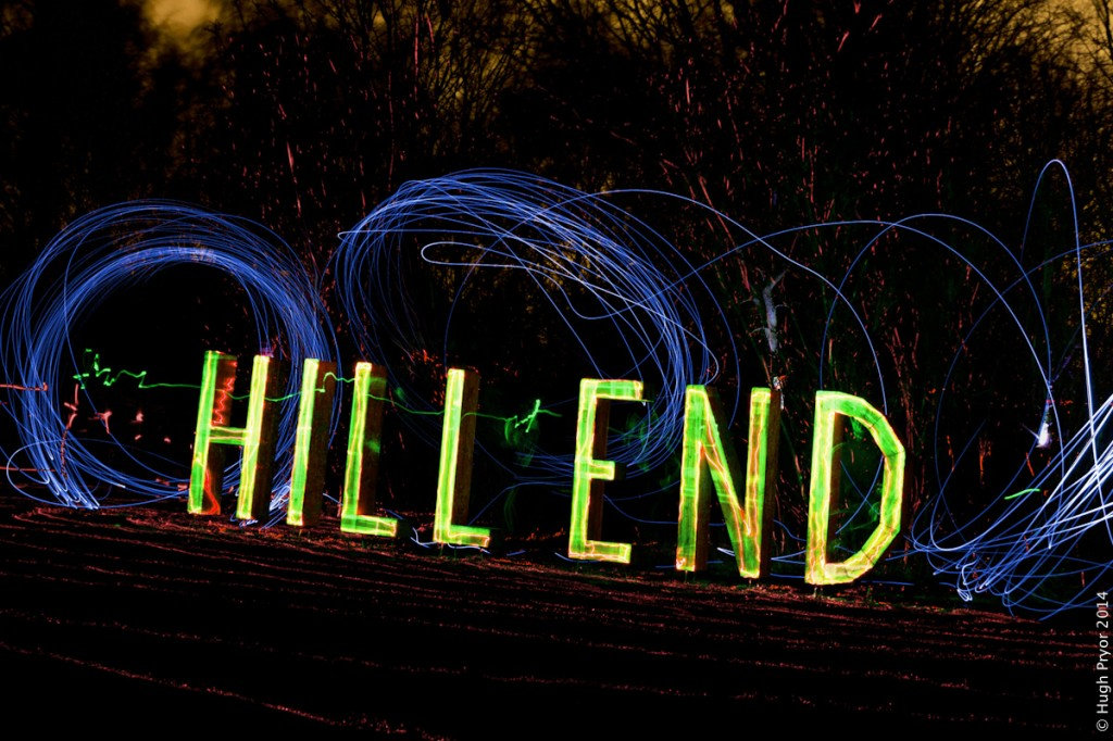 Hill End sign with LEDs and laser