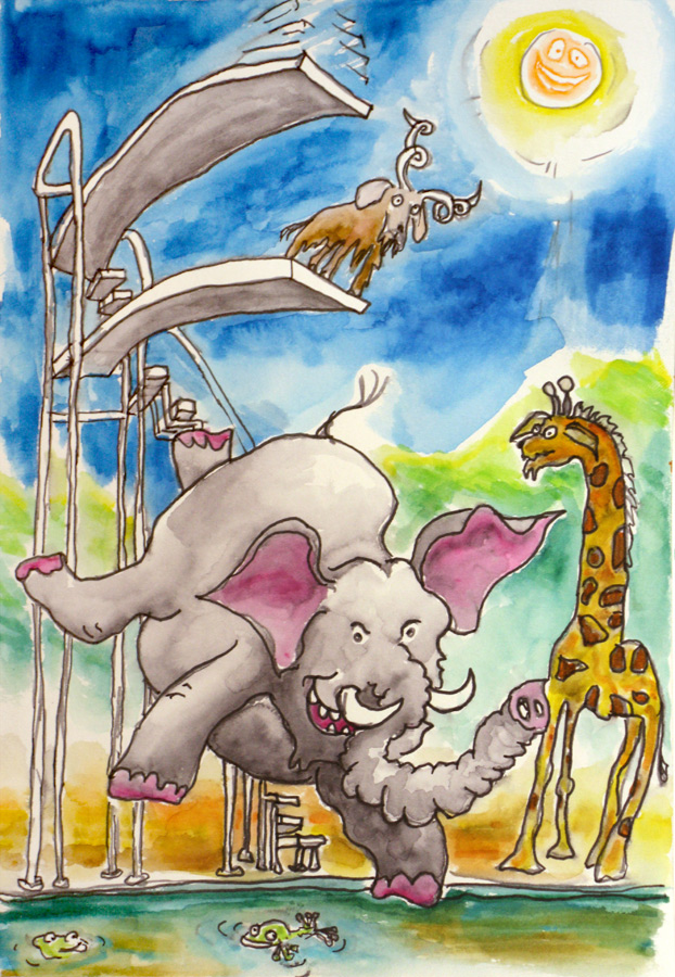 An elephant jumps off the top diving board leading to unforseen consequences...