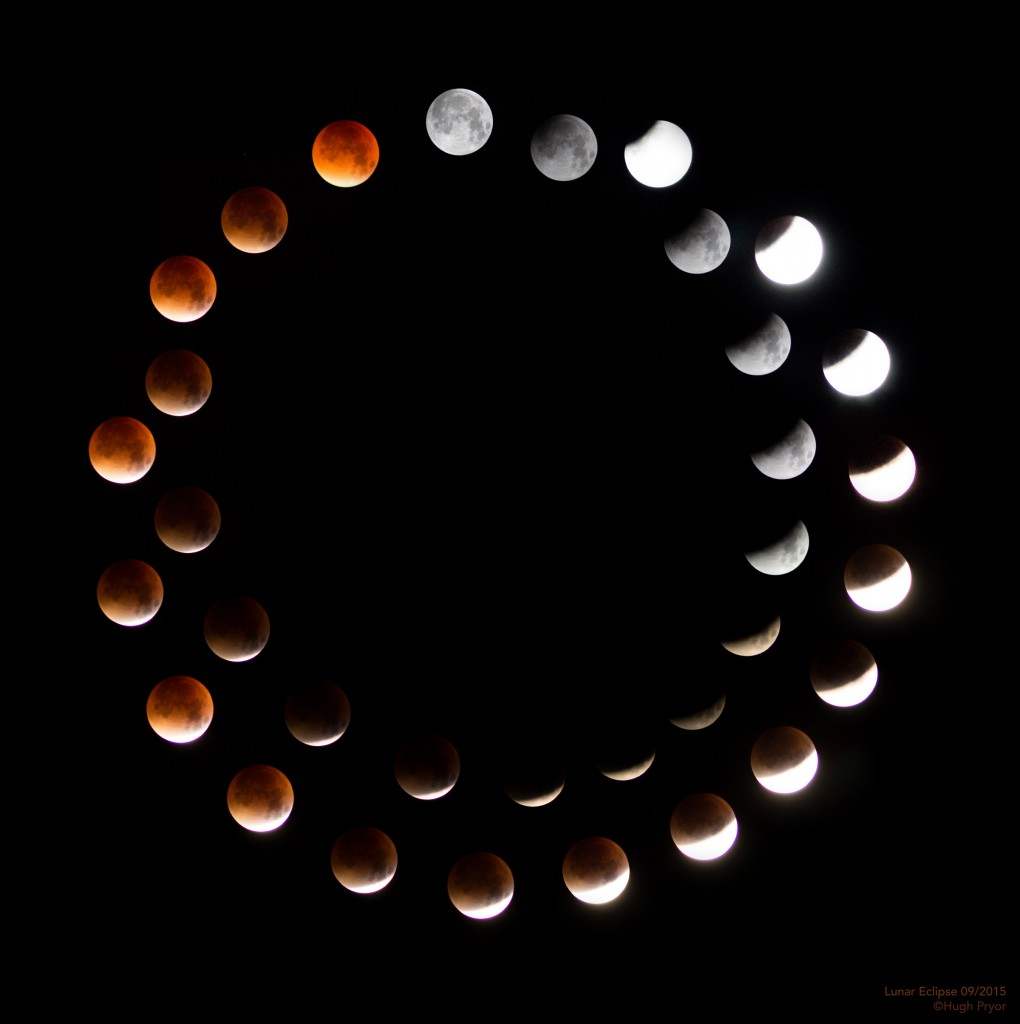 Lunar eclipse over and under exposed composite by Hugh Pryor
