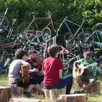 "bicycle scultpure tandem with musicians • <a style=""font-size:0.8em;"" href=""http://www.flickr.com/photos/61377761@N00/35282747931/"" target=""_blank"">View on Flickr</a>"