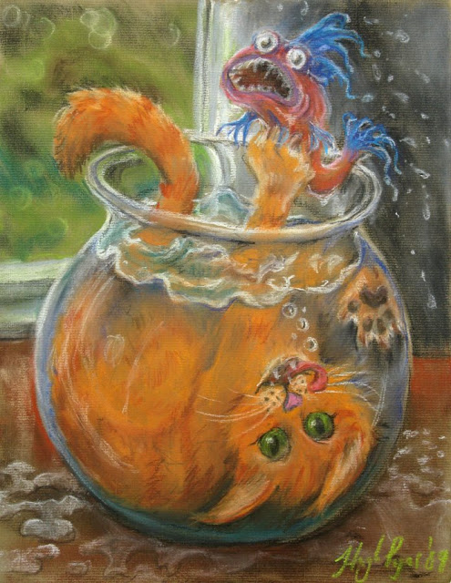 Cat in Fish Bowl. Original artwork and prints be Hugh Pryor