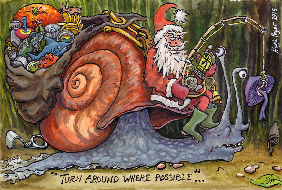 Turn around where possible - Santa on a snail