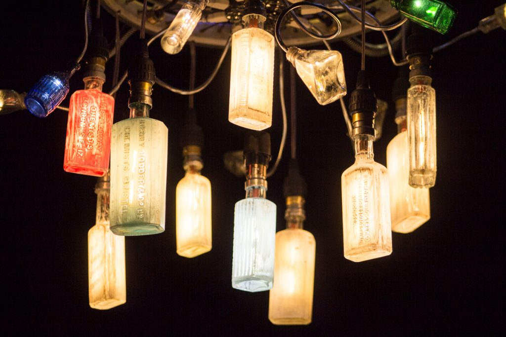 Raised type medicine bottles converted to bayonet fitting LED filament light bulbs