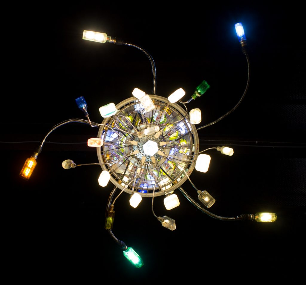 bottle chandelier from the underside