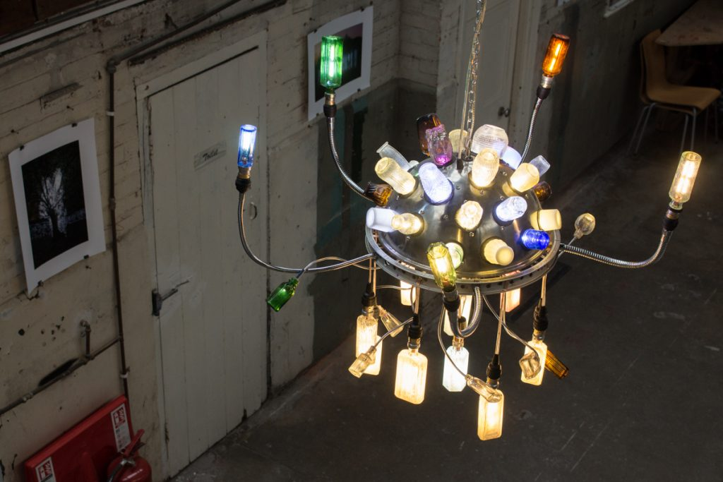 Bottle bulb chandelier