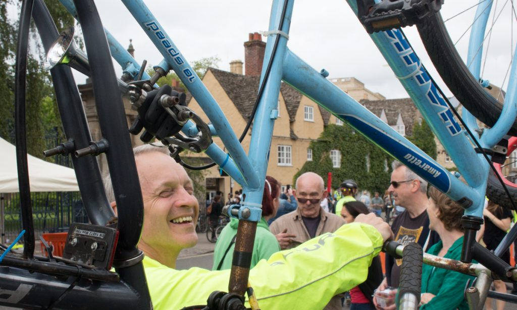 Brake powered bicycle horn on the bicycle sculpture at the Oxford Big Green Day Out 2017 on the bicycle sculpture at the Oxford Big Green Day Out