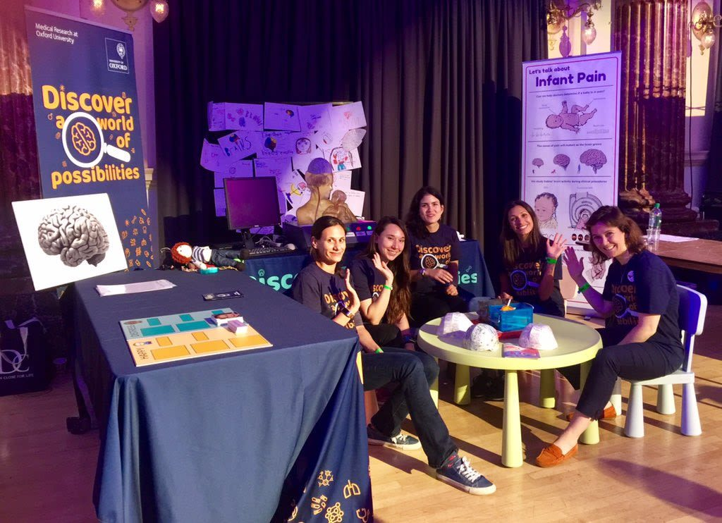 Oxford University Department of Paediatrics team at the Cheltenham Science Festival with Hugh Pryor's baby brain poster